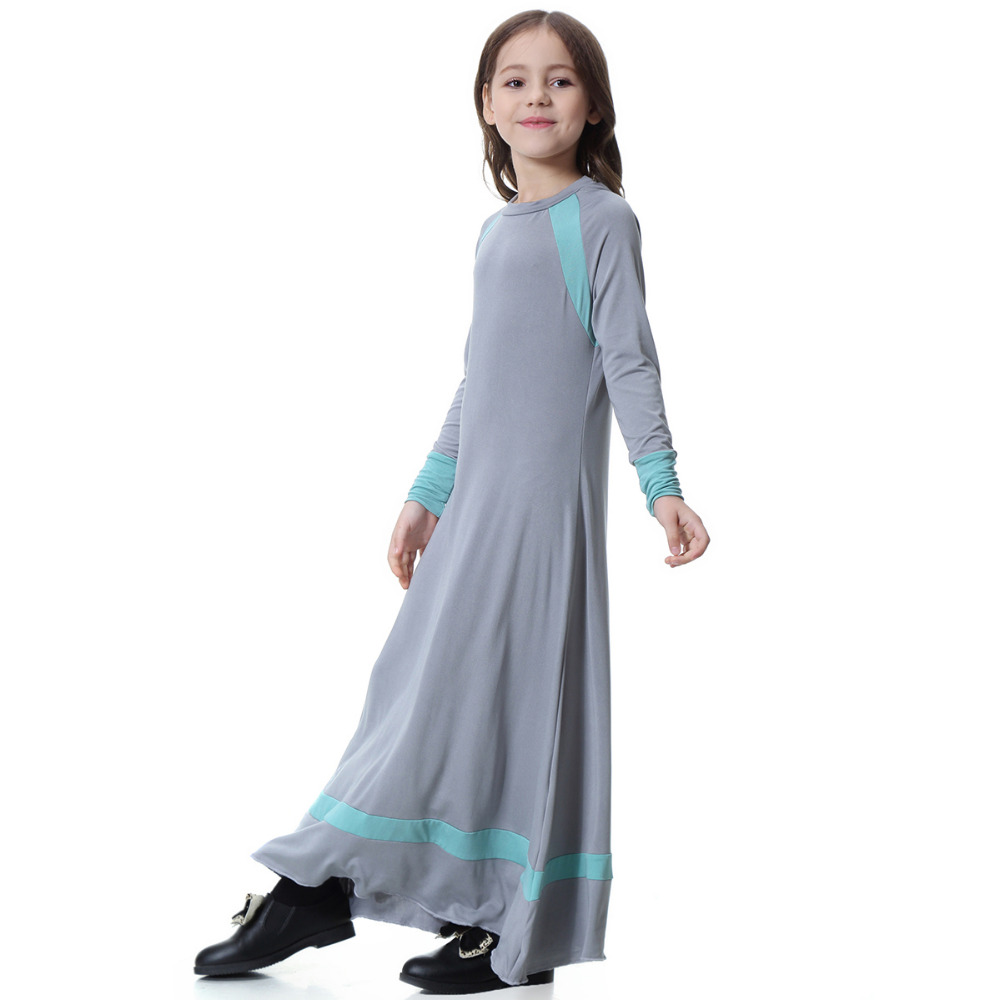 4022c9e663674 US $22.42 |Elegant Linen Hit Color Patchwork Elastic Muslim Maxi Dress For  Girls Malaysia Islamic Clothing Robes Arab Dubai Abaya Big Size-in Islamic  ...