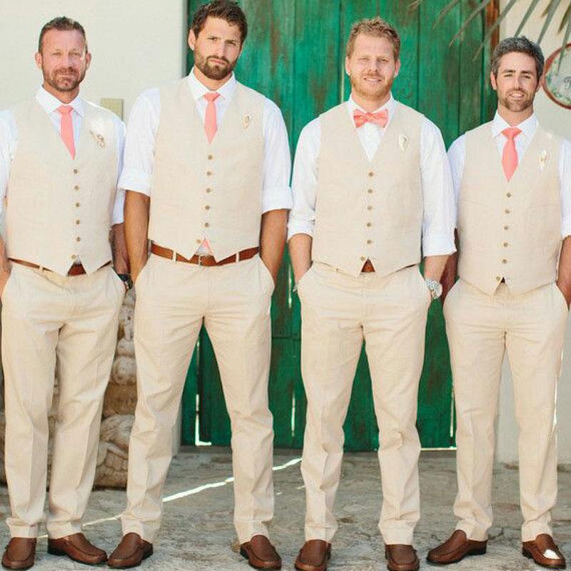 Summer Ivory Linen Men Suits For Beach Wedding Suits Groom Tuxedo Custom Groomsmen Blazers Man Costume Homme 2Piece (Vest+Pants)