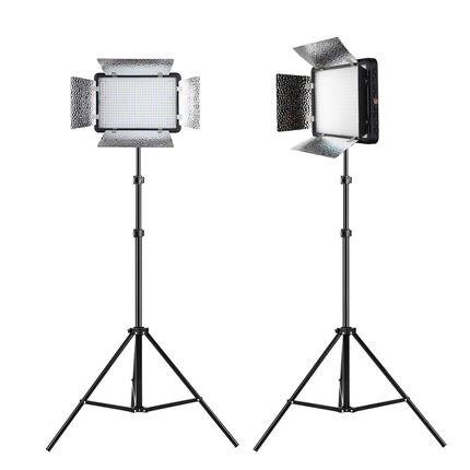 Free DHL 2X Godox LED500LRC 500 LED 3300 5600K Video Light with Reflectors 200cm Light Stands