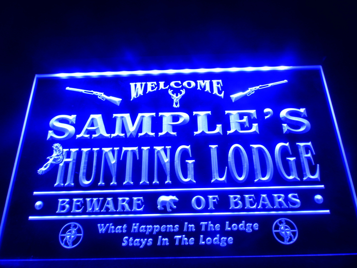 Personalized Man Cave Neon Signs : Dz name personalized custom hunting lodge firearms man