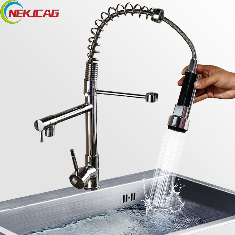 Chrome Finished Single Handle Double Spout Kitchen Faucet Deck Mounted Kitchen Vessel Sink Mixer Tap Pull Out Sprayer Faucets newly chrome brass water kitchen faucet swivel spout pull out vessel sink single handle deck mounted mixer tap mf 302