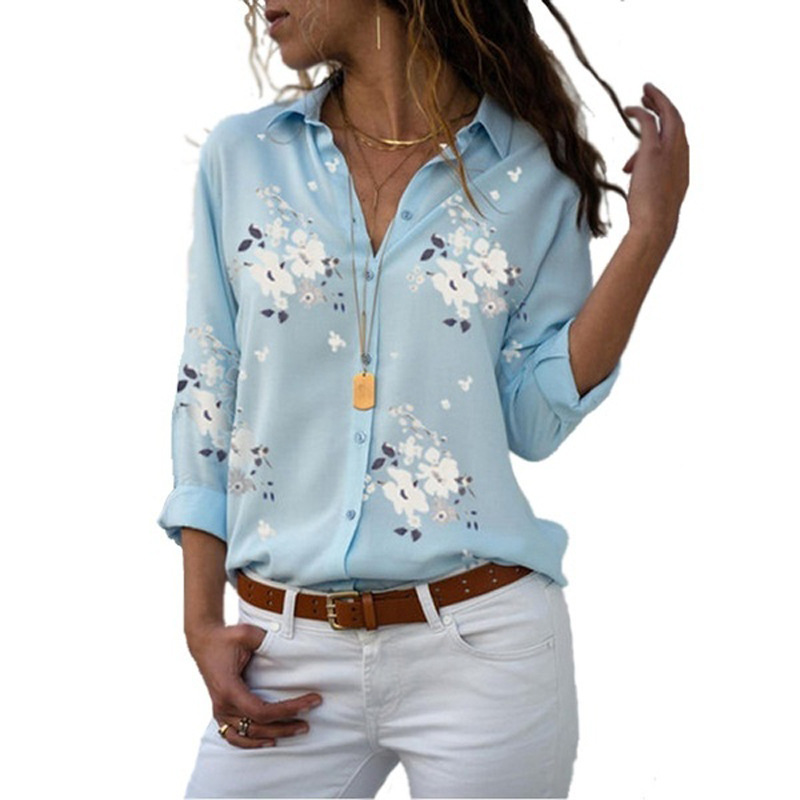 Women   Blouse   Flower Printing Clothing Long Sleeve V-neck Slimming White Yellow Light Blue Color Size S To 3XL Casual women   shirt