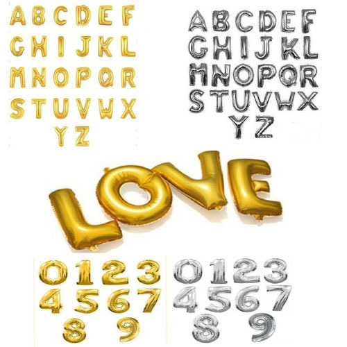 1pcs 16'' Cute Silver/Gold Alphabet A-Z foil Letters number 0-9 Balloons New Year Birthday party Wedding Decoration love Ballon