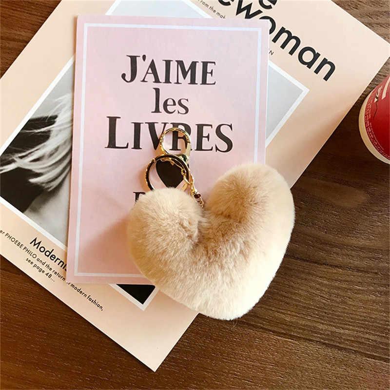 Imitação coelho cabelo bola anel chave do coração do pêssego amor de pelúcia saco carro pingente de presente por atacado