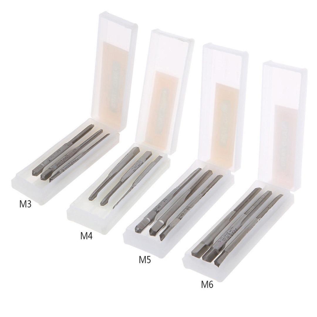 3Pcs Hss Machine Screw Thread Metric Plug Tap Screw Taps M3x0.5/M4x0.7/M5x0.8/M6x1.0 HSS Machine Hand Screw Thread