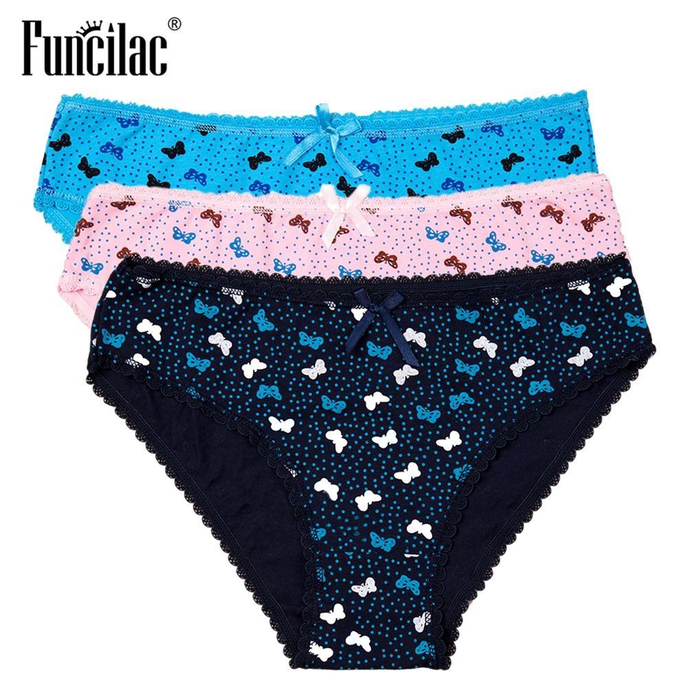 3 Pcs/set Women's Panties Cotton Ladies Underwear Sexy Lace Briefs Butterfly Print Striped Plus Size Lingerie M-XXL FUNCILAC