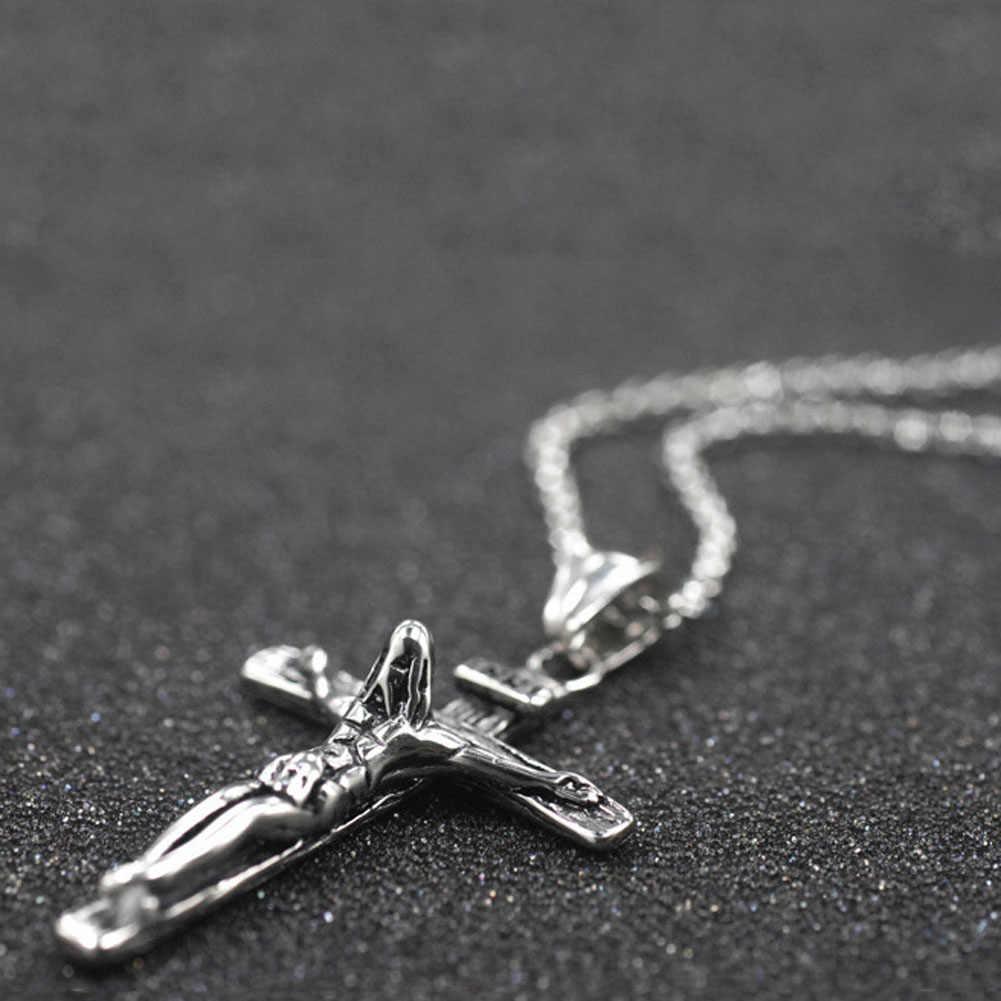 Colar de cruz de Ouro/Cor Prata Corrente De Aço Inoxidável Para Homens Jóias Jesus Peça NL2381