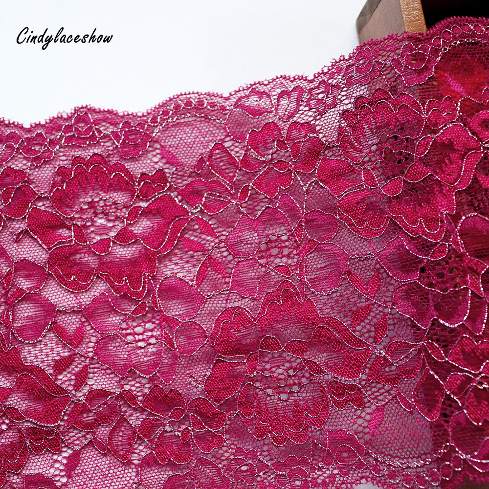 2Yards 16 5cm Wide Silver Thread Elastic Lace Trim Bra Clothing Accessories Sewing Applique Stretch French Lace Fabric Dark Red in Lace from Home Garden