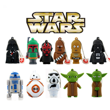 11 estilos Pen drive Star wars darth vader 4 GB/8 GB/16 GB/32 GB/64 gb flash drive BB-8 R2D2 robô usb 2.0 flash memory stick pendrive
