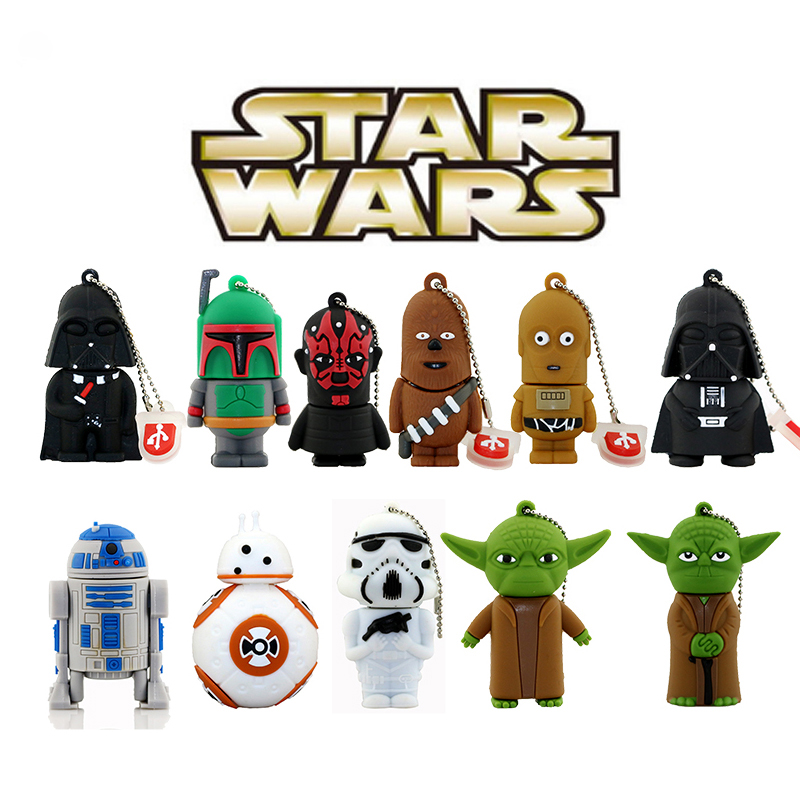 11 stili Pen drive Star wars darth vader 4 GB / 8 GB / 16 GB / 32 GB / 64 GB flash drive BB-8 robot USB 2.0 flash memory stick R2D2 pendrive