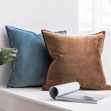 Декоративная бархатная наволочка мягкая темно-Голубая Подушка Soild квадратная наволочка для дивана, спальни, автомобиля 18×18 дюймов