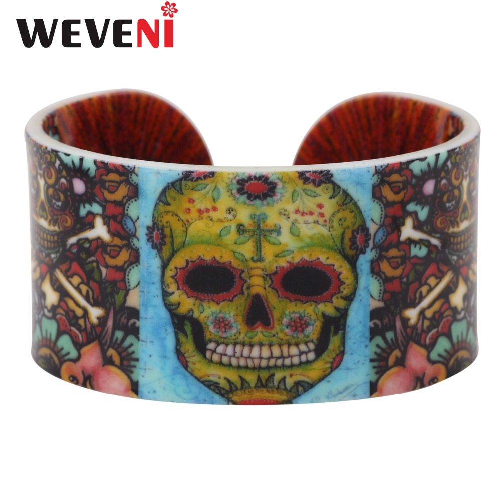 WEVENI Statement Plastic Skull Bracelets Bangles For Women Girls Fashion Punk Halloween Party Crafts Jewelry Pirate Accessories