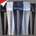 Высокая талия джинсы женский весной и осенью черный белый синий плотно основной карандаш длинные брюки