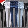 Calça jeans de cintura alta feminina primavera e no outono preto branco azul apertado básico lápis calças compridas