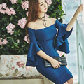 Autumn winter women dress blue colour Strapless Slash neck Flare Sleeve Slim package hip vestidos bandage Sexy Party  dresses