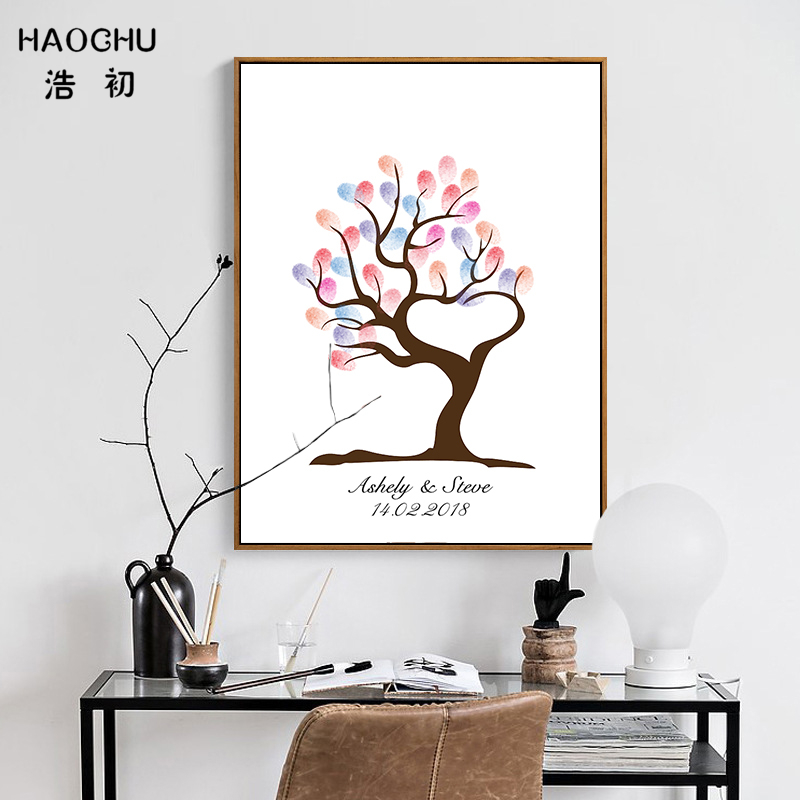 HAOCHU DIY Fingerprint Signature Guest Books Baby Shower Decorations Growing Tree Love Heart Wedding Party Supplies Souvenir