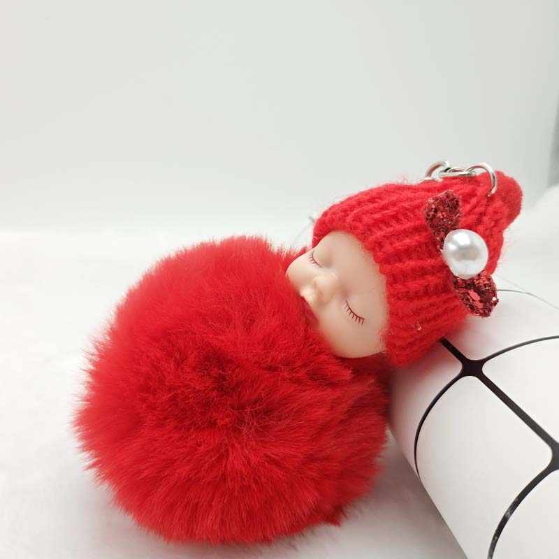 Bonito Coelho De Pelúcia Bola POM Keychain Chaveiro Moda Dormir Boneca Dos Desenhos Animados Pingente de Chave Senhora Saco de Presente Da Jóia