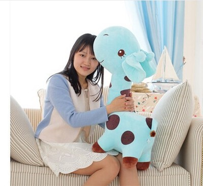 huge 85cm giraffe plush toy cartoon spotted giraffe doll, sky blue , throw pillow ,girlfriend pillow ,Christmas gift b4687 free shipping about 60cm cartoon totoro plush toy dark grey totoro doll throw pillow christmas gift w4704
