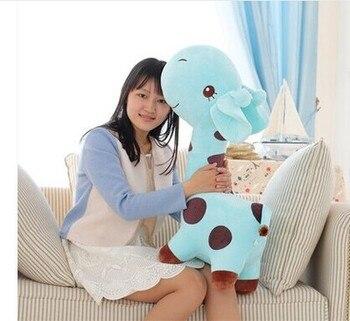 huge 85cm giraffe plush toy cartoon spotted giraffe doll, sky blue , throw pillow ,girlfriend pillow ,Christmas gift b4687