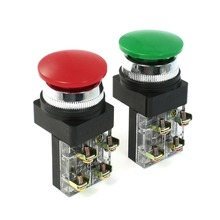 цена на Red Green AC 250V 6A DPST Momentary Green Mushroom Head Push Button Switch