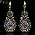 Unique Design Purple Crystal Vintage Women Party Jewelry Natural Simulated Emerald CZ Stone Long Big Dangle Drop Earrings E090
