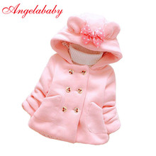 Г. Осеннее плотное шерстяное пальто для маленьких девочек; детская рубашка с капюшоном; двубортная верхняя одежда с бантом и карманами; Детские теплые куртки; одежда