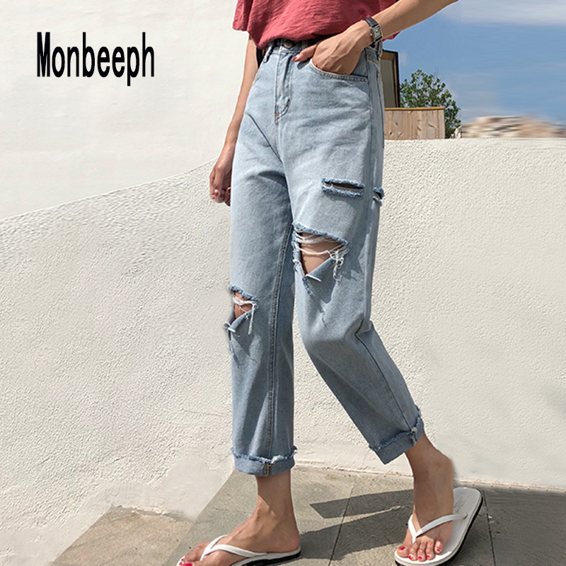 Monbeeph Harem Jeans Denim Pants Ripped-Hole Loose Blue Female Plus-Size Summer Casual