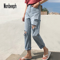Monbeeph New Women Fashion Jeans Blue Ripped Hole Washed Denim Pants Female Spring Summer Loose Casual Harem Jeans Plus Size 4XL