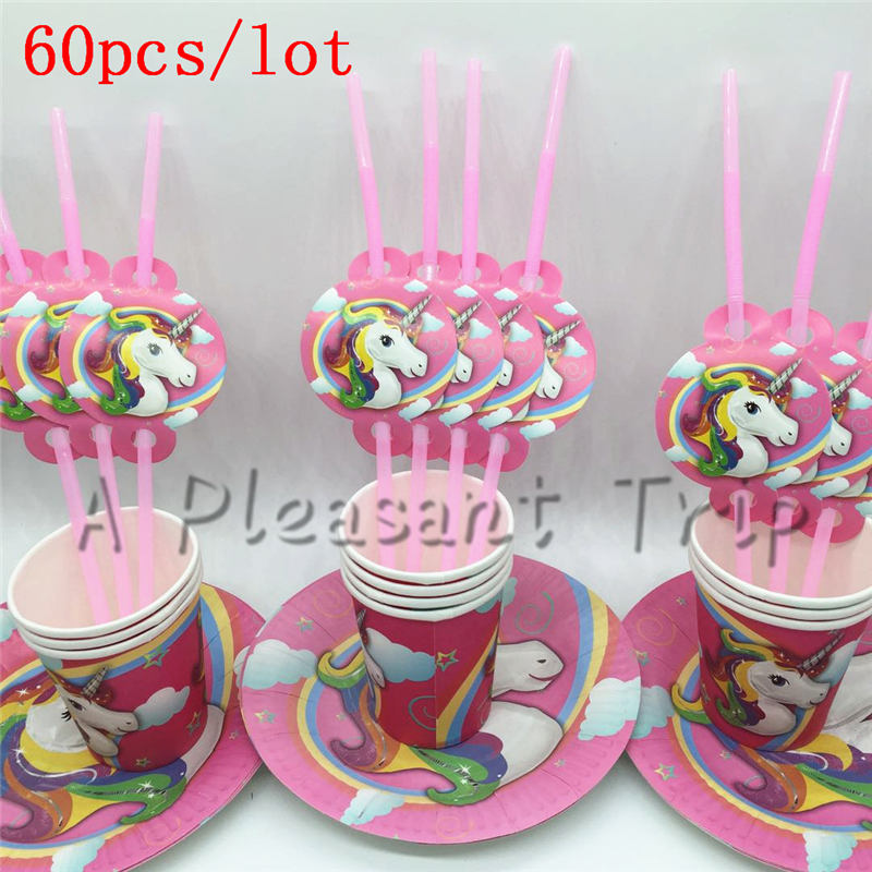 60 Stks/partij Supply Karton + Papercup + Stro Cartoon Eenhoorn Kind Verjaardagsfeestje Wegwerp Servies Voor Allerlei Partie