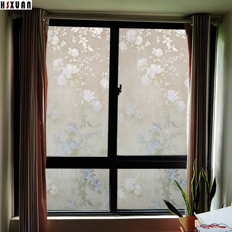 bedroom sunscreen peony floral printing home decor removable stained glass static window film sticker cellophane 45x100cm 452301