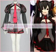 Anime Vocaloid Zatsune Miku Cosplay conjunto Uniforme Completo (Manga + Top + Falda + Tie) traje de Halloween para las mujeres Por Encargo