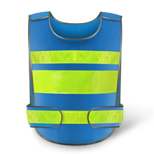 Blue Reflective Safety Clothing Vest Workplace Road Working Motorcycle Cycling Sports Outdoor Print LOGO #001