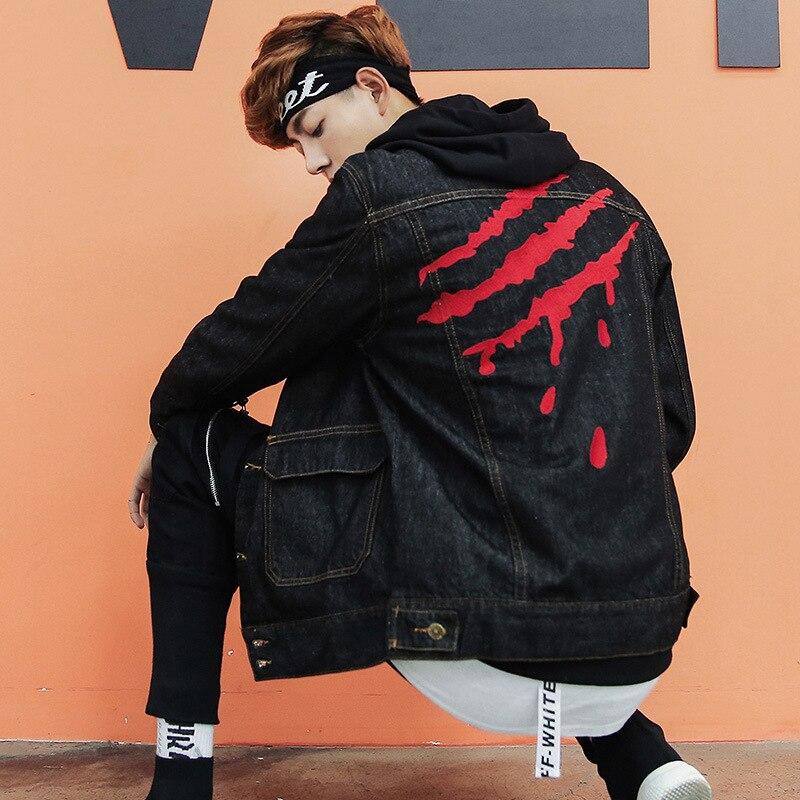 Aboorun Coton Pour 5xl Denim Nouvelle Rayures Jeans Vestes Hommes Grande Broderie Manteau Black Hop Taille 2018 Les Hip Noir Yc1099 0OnPw8kX