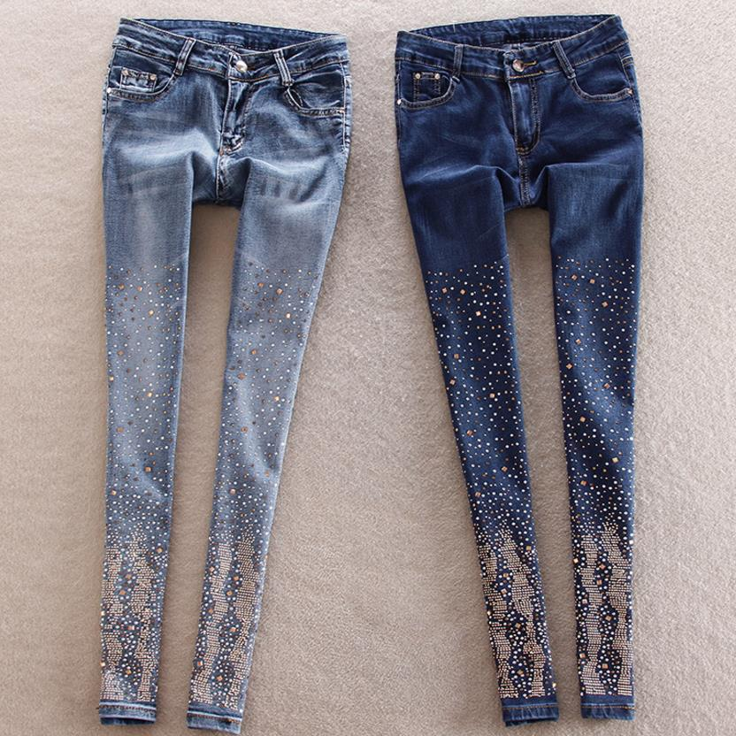 new hole   jeans   women pants trousers pants diamond pencil pant trousers