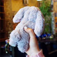 Haissky Cute Rabbit Hair Fur Case For Samsung Galaxy S6 S6Edge Glitter Cases Cover For Samsung