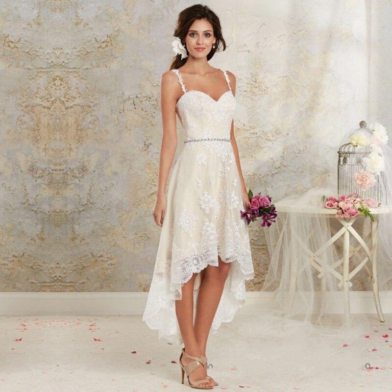 Low Waist Wedding Gowns: Vintage High Low Wedding Dresses 2016 Short Lace Wedding
