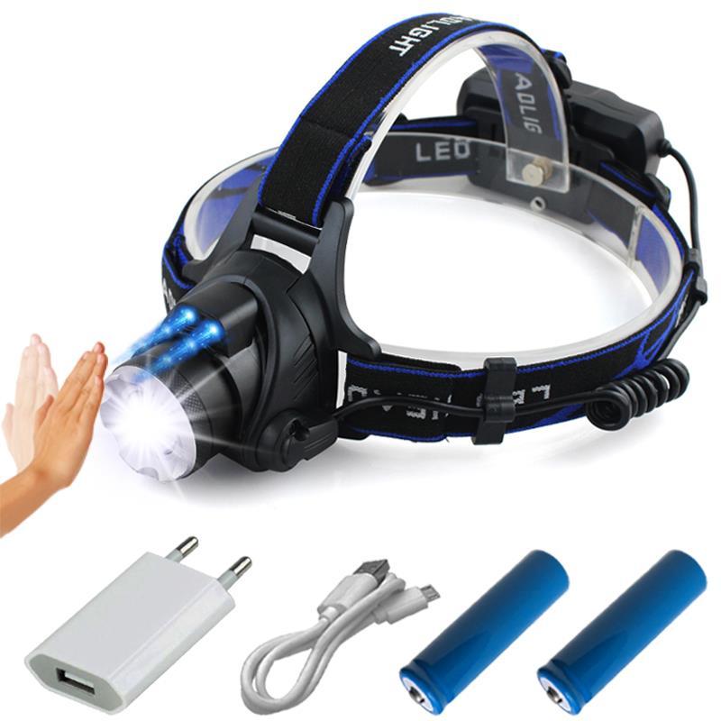 CREE XML L2 IR Sensor Led Headlamp Induction Head Light Micro USB Rechargeable Headlight Lantern Flashlight Head Torch18650