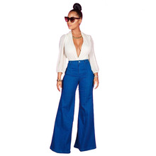 2019 High Waist Jeans Women Denim Hole Ripped Jean Casual Stretch Boyfriend Loose Sexy Flare Pants Plus Size