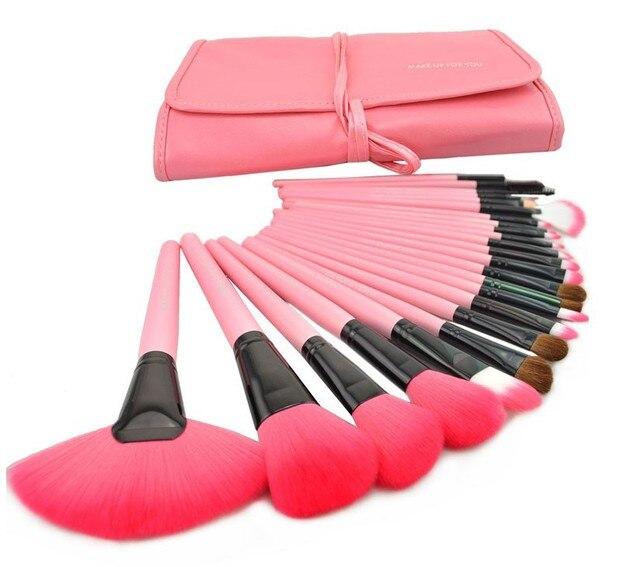 Venda quente Profissional 24 PCS Pincel de Maquiagem Rosa Set Make-up Brushes Kit Marca de Cosméticos Make Up Set Caso frete grátis