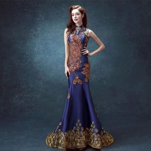 Luxury Royal Blue Evening Dress Mermaid Ball Gown Chinese Oriental ...