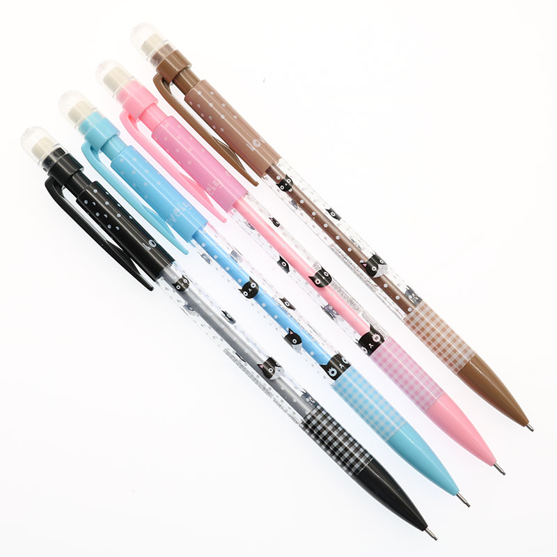 4pcs Creative Cute Cartoon Cat Series 0.7mm Mechanical Pencil Children'S Student Gifts Stationery School Office Supplies