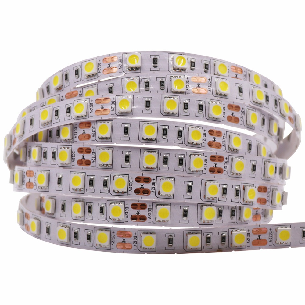 12V 5m 5050 300 LED Strip Light White+Plug Kit 4000K-4500K Flex Tape Waterproof