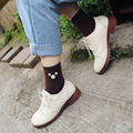 5 Pairs Winter Cotton Harajuku Socks Women Pure Color Brand Woman Socks With Pearl Ladies Funny Socks Autumn Preppy Style