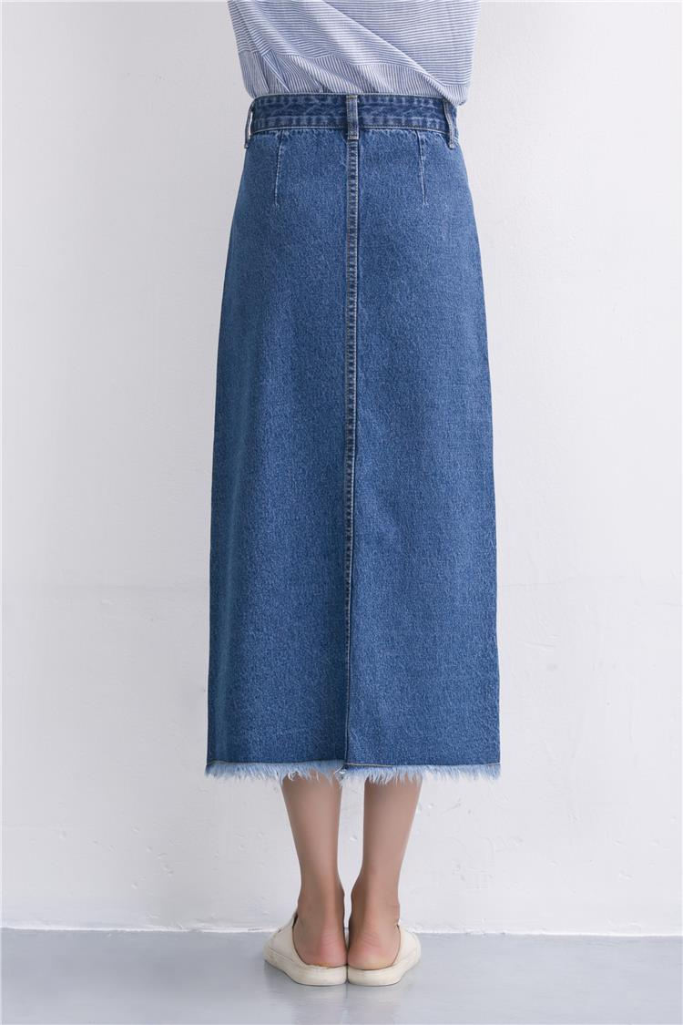 Slits a word denim skirt female 2016 new winter high waist a word length denim skirt 10