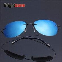 New Arrival Free Shipping Luxury Ultra-light Flexible Pure Titanium Rimless Polarized Sunglasses Eyeglasses Eyewear Unisex