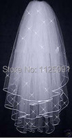 Promotion Free Shipping High Quality Soft Bridal Illusion White Ivory 3T Ribbon Edges With Crystals Bridal