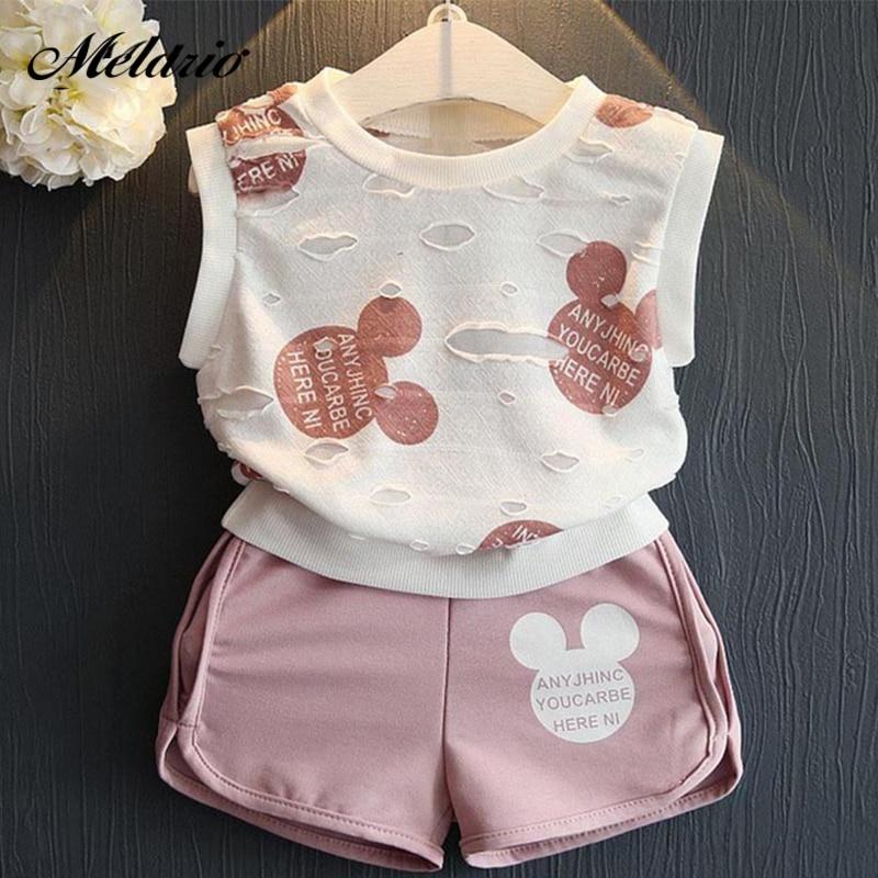 6522e7885b8cb Girls Clothes 2019 Summer Style Boys Baby Girls Clothing Sets Cartoon Print  T-shirt+Short 2Pcs for Kids Clothes 3-7Y Children