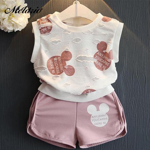 Meninas Roupas de Verão 2019 Meninos Estilo Conjuntos de Roupas de Bebê Meninas Dos Desenhos Animados Imprimir T-shirt + Short 2 Pcs para roupa dos miúdos 3-7Y Crianças