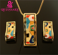 RED SNAKE Fashion Hot Selling Rose Gold color Islamic Style Streamline Design Enamel Jewelry Set,(Necklace,Earrings),1set/pack