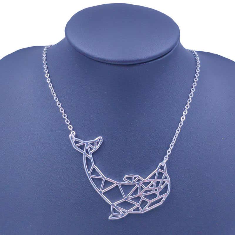4 kolory drążą delfin naszyjnik zwierząt wisiorek koraliki złoto srebro Plated biżuteria prezent dla kobiet mężczyzna kobiet dziewczyny 75